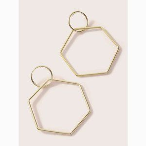 Geometric Round & Hexagon Drop Statement Earrings